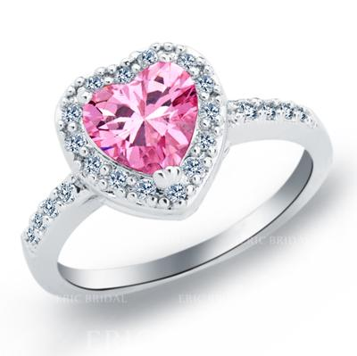Rings Copper/Zircon/Platinum Plated Ladies' Sweet Heart Wedding & Party Jewelry (011165395)