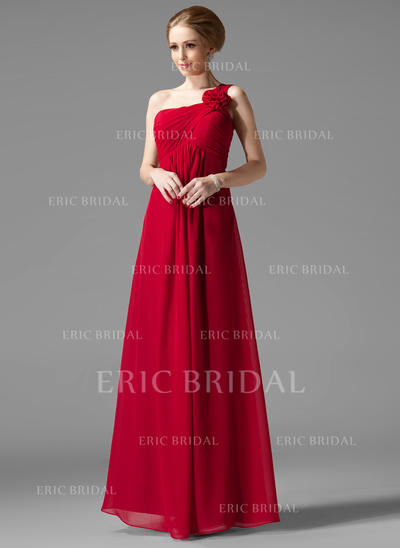 Empire Chiffon Bridesmaid Dresses Ruffle Flower(s) One-Shoulder Sleeveless Floor-Length (007013957)