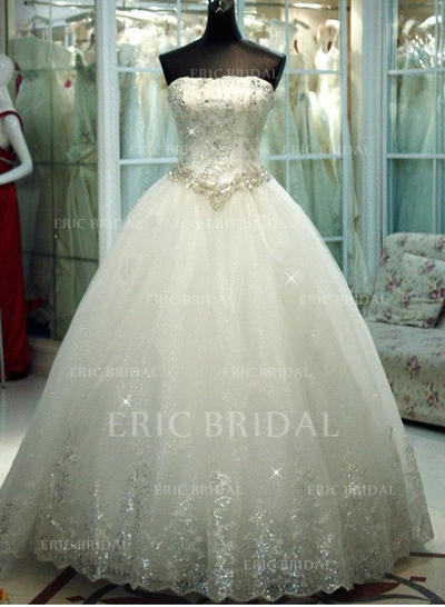 Ball-Gown Tulle Sleeveless Strapless Floor-Length Wedding Dresses (002147826)