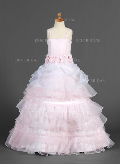 Luxurious Straps A-Line/Princess Flower Girl Dresses Floor-length Organza/Satin Sleeveless (010014655)