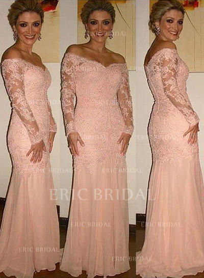 Trumpet/Mermaid Chiffon Lace Long Sleeves Off-the-Shoulder Sweep Train Zipper Up Mother of the Bride Dresses (008146302)