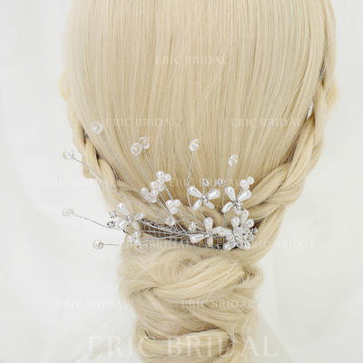"""Combs & Barrettes Wedding/Special Occasion/Party Rhinestone/Alloy/Imitation Pearls 5.31""""(Approx.13.5cm) 3.15""""(Approx.8cm) Headpieces (042155270)"""