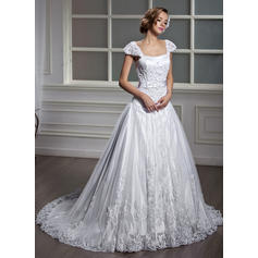 Chic Square A-Line/Princess Wedding Dresses Court Train Tulle Short Sleeves (002196871)