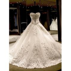 Ball-Gown Sweetheart Royal Train Wedding Dresses With Beading Appliques Lace Sequins Bow(s)