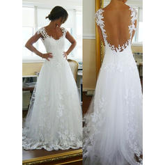 A-Line/Princess Tulle Sleeveless V-neck Court Train Wedding Dresses