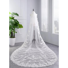 Cathedral Bridal Veils Tulle One-tier With Lace Applique Edge With Lace Wedding Veils