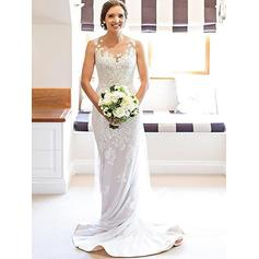 Fashion Scoop Sheath/Column Wedding Dresses Court Train Satin