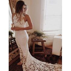 Newest Halter Trumpet/Mermaid Wedding Dresses Chapel Train Lace Sleeveless