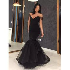 Trumpet/Mermaid Off-the-Shoulder Floor-Length Organza Evening Dresses With Ruffle Cascading Ruffles (017217879)