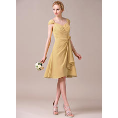 A-Line/Princess Sweetheart Knee-Length Bridesmaid Dresses With Flower(s) Cascading Ruffles