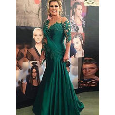 Trumpet/Mermaid Charmeuse Lace 3/4 Sleeves Scoop Neck Floor-Length Zipper Up Mother of the Bride Dresses (008146197)