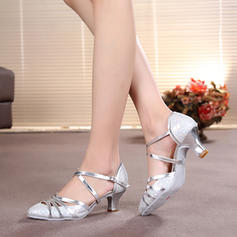 Women's Ballroom Heels Pumps Sparkling Glitter With Ankle Strap Dance Shoes