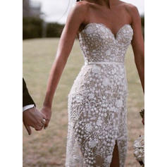 Sheath/Column Sweetheart Sweep Train Wedding Dresses With Split Front