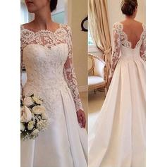 Ball-Gown Satin Lace Long Sleeves Scoop Court Train Wedding Dresses