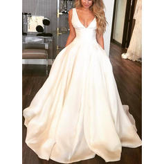 V-neck Ball-Gown Wedding Dresses Satin Sleeveless Sweep Train