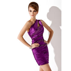 Sheath/Column One-Shoulder Short/Mini Charmeuse Sequined Cocktail Dresses With Ruffle (016021204)