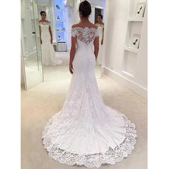 Trumpet/Mermaid Lace Sleeveless Off-The-Shoulder Court Train Wedding Dresses