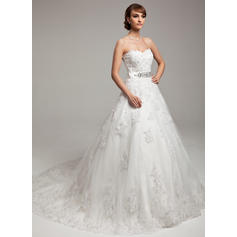 Ball-Gown Sweetheart Chapel Train Wedding Dresses With Beading Appliques Lace Bow(s)