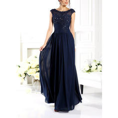 Modern Chiffon Evening Dresses A-Line/Princess Floor-Length Scoop Neck Sleeveless