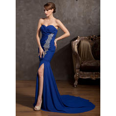 Trumpet/Mermaid Sweetheart Court Train Evening Dresses With Ruffle Beading Split Front (017014865)