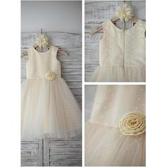 A-Line/Princess Scoop Neck Tea-length With Flower(s) Satin/Tulle Flower Girl Dresses