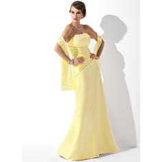 A-Line/Princess Satin Lace Bridesmaid Dresses Ruffle Beading Sequins Strapless Sleeveless Floor-Length