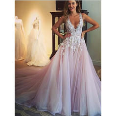 Ball-Gown Deep V Neck Chapel Train Wedding Dresses With Appliques