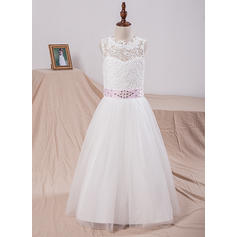 A-Line/Princess Scoop Neck Floor-length With Sash/Bow(s)/V Back Tulle/Lace Flower Girl Dresses