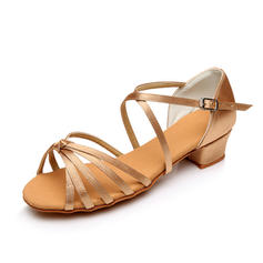 Kids' Latin Sandals Flats Satin With Bowknot Dance Shoes