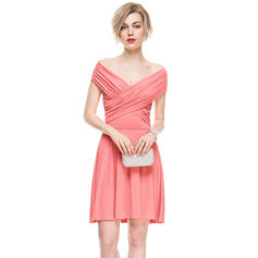 A-Line/Princess Off-the-Shoulder Short/Mini Jersey Cocktail Dress With Ruffle