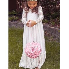 Fashion Scoop Neck Empire Flower Girl Dresses Floor-length Lace Long Sleeves (010145254)