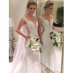 Trumpet/Mermaid Tulle Lace Sleeveless V-neck Court Train Wedding Dresses