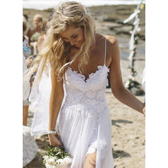 A-Line/Princess Chiffon Sleeveless V-neck Sweep Train Wedding Dresses