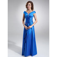 A-Line/Princess Charmeuse Sleeveless Off-the-Shoulder Floor-Length Zipper Up Mother of the Bride Dresses