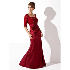 Trumpet/Mermaid Charmeuse Lace 1/2 Sleeves Scoop Neck Floor-Length Zipper Up Mother of the Bride Dresses