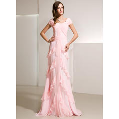 A-Line/Princess Scoop Neck Sweep Train Evening Dresses With Cascading Ruffles (017014216)