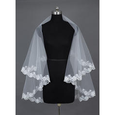 Fingertip Bridal Veils Tulle One-tier Oval With Lace Applique Edge Wedding Veils