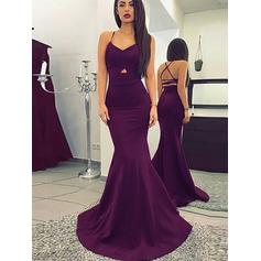Trumpet/Mermaid V-neck Sweep Train Satin Evening Dresses With Ruffle