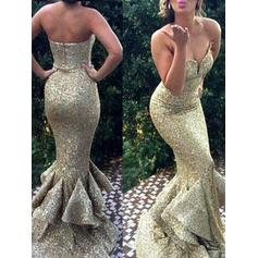 Trumpet/Mermaid Sweetheart Sweep Train Prom Dresses