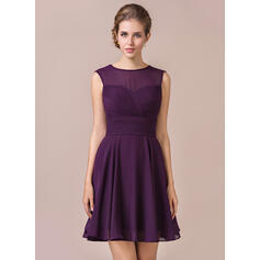A-Line Scoop Neck Knee-Length Chiffon Bridesmaid Dress With Ruffle (007054331)