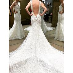 Trumpet/Mermaid Sweetheart Chapel Train Wedding Dresses With Beading