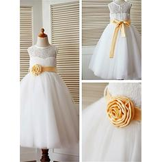 A-Line/Princess Scoop Neck Ankle-length With Sash/Flower(s) Tulle/Lace Flower Girl Dresses