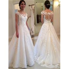A-Line/Princess Scoop Sweep Train Wedding Dresses With Lace (002218053)