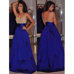 Ball-Gown Satin Prom Dresses Beading V-neck Sleeveless Sweep Train (018148466)