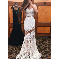 Trumpet/Mermaid Lace Prom Dresses Scoop Neck Sleeveless Sweep Train