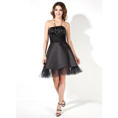 A-Line/Princess Strapless Knee-Length Satin Cocktail Dresses With Ruffle Beading (016002430)