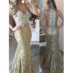Trumpet/Mermaid Scoop Neck Sweep Train Lace Evening Dresses With Sash Beading Appliques Lace
