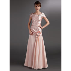 A-Line/Princess Chiffon Charmeuse Sleeveless Off-the-Shoulder Floor-Length Zipper Up Mother of the Bride Dresses (008006118)