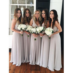 A-Line/Princess Chiffon Bridesmaid Dresses Ruffle Bow(s) V-neck Sleeveless Floor-Length