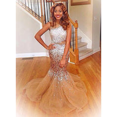Trumpet/Mermaid Scoop Neck Sweep Train Tulle Prom Dresses With Beading Sequins